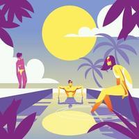 Summer Swimming Activity vector