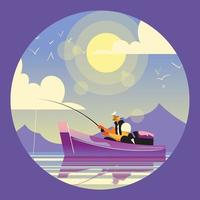 A Man Fishing in The Sea vector