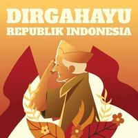 Indonesia Independence Day With Old Veteran Concept vector
