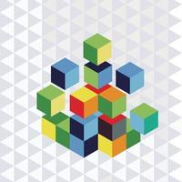 Cube geometry puzzle vector