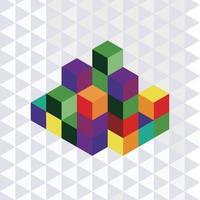 rompecabezas de geometría de cubo vector