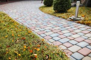 Backyard of a country house - stone walkways and landscaping photo
