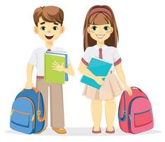 Schoolboy and schoolgirl with backpack and textbooks vector