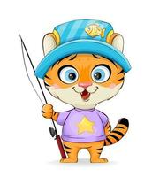 Cute little tiger goes fishing vector