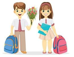 Schoolboy and schoolgirl with backpack. vector