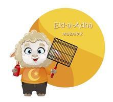 Eid al-Adha Mubarak. Funny cartoon character ram vector