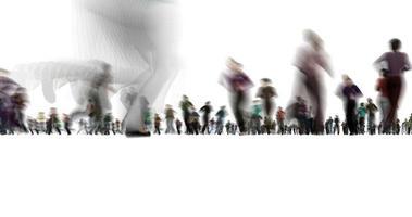 une photo floue de personnes en cours d'exécution sur fond blanc video