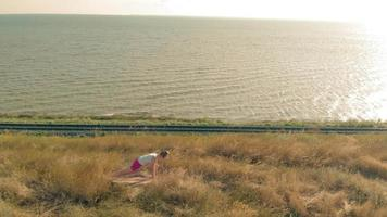 Aerial shot of a young woman doing yoga outdoors video