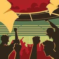 People Watching Football Match at Stadium Concept vector