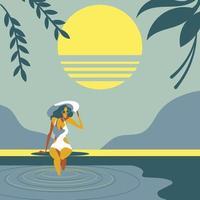 Summer Swimming Pool Girl vector