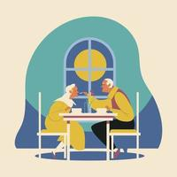 Old Couple Romantic Dinner vector