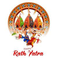illustration of Lord Jagannath, Balabhadra and Subhadra on annual Rathayatra in Odisha festival background vector