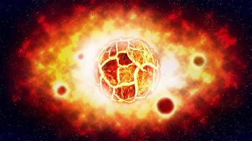 The cracked sun explosion and planet on space, illustration photo