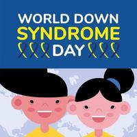 world down sindrome day campaign poster with kids vector