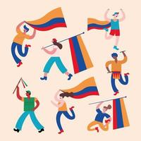 seven colombians protesters vector
