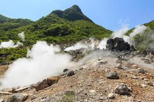 Owakudani valley, volcanic valley with active sulphur and hot springs in Hakone, Kanagawa ,Japan photo