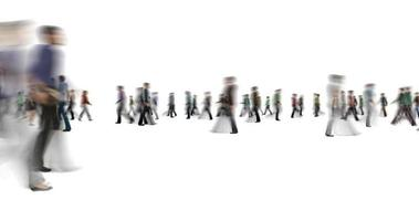 Anonymous blur crowd of people walking on white background video