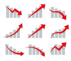 Stock graphic vector icons set. Up and down arrows on chart, informing about growth and decline, profit and loss. Simple Infographic icon for presentation, logo template, app buttons.
