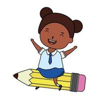 cute little student afro girl seated in pencil character vector