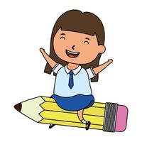 cute little student girl seated in pencil character vector