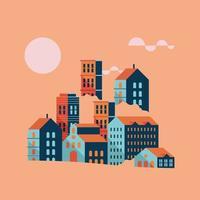 buildings minimal city scape scene vector