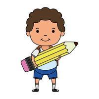 lindo niño pequeño estudiante con personaje de lápiz vector