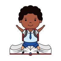cute little afro student boy seated in book character vector