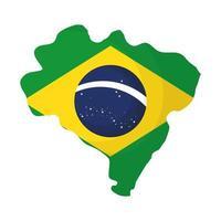 Brasil mapa del país con bandera vector