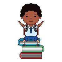 afro little student boy seated in books character vector