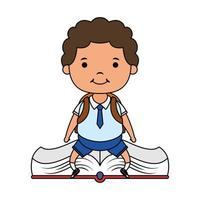 cute little student boy seated in book character vector
