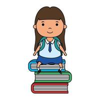 cute little student girl seated in books vector