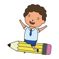 cute little student boy with seated in pencil vector