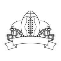 cascos deportivos de fútbol americano y globo vector
