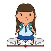 cute little student girl seated in book character vector