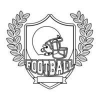 Casco deportivo de fútbol americano en escudo emblema vector