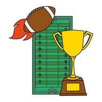 Globo deportivo de fútbol americano con copa trofeo y campamento. vector