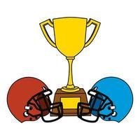 cascos deportivos de fútbol americano con copa trofeo vector