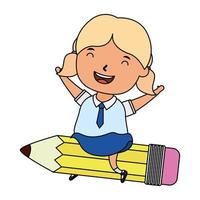 cute little student blond girl seated in pencil character vector