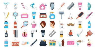 bundle of barber shop set icons vector