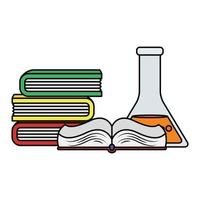 pile text books with tube test vector