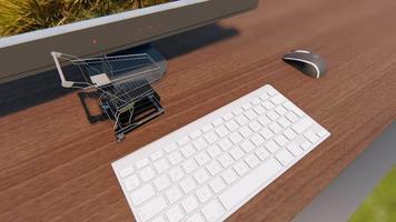 Little shopping cart passing near a computer 4k video