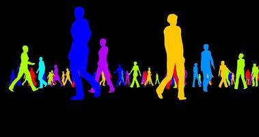 Colored silhouettes of a crowd of people on a black background video