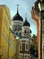 View of Alexander Nevsky Cathedral Tallinn Estonia from a narrow street in the Old Town photo
