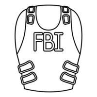 fbi bulletproof vest isolated icon vector