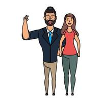 young man bearded with woman characters vector