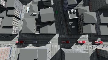 un convoglio di camion dei pompieri e auto della polizia nella grande città si precipita alla sfida video