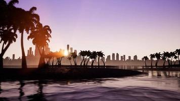 mouvement de la caméra près d'une île tropicale sur fond d'une ville moderne avec des gratte-ciel video