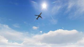 aereo che vola sopra la testa con un cielo azzurro sullo sfondo video