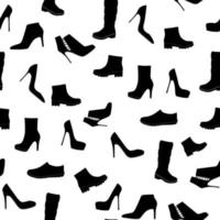 Shoes Silhouette Seamless Pattern Background Vector Illustration