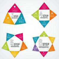 Abstract Elements of Graph, Diagram with 3, 4, 5, 6  Steps, Options. Business Infographic Templates for Creative Presentation. Vector Illustration